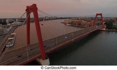 Aerial view of Willem Bridge in Rotterdam - Aerial evening...