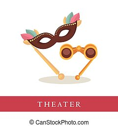 Theatre opera glasses and venetian mask icons isolated on...