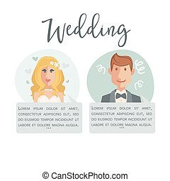 Wedding poster with bride in white dress and handsome groom