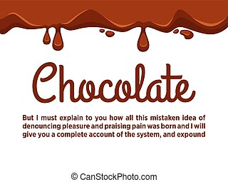 Chocolate streams flowing down from top on white. Vector...