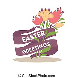 Easter greetings conceptual banner. Spring flowers decorated with purple tape
