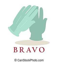 Bravo logo applause gloves icon silhouette isolated on white background.