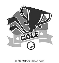 Golf club colorless logo emblem isolated on white. Vector...