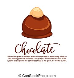 Chocolate round candy isolated with whole hazelnut on top -...