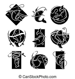 Fishing concept vector colorless poster of signs on white -...