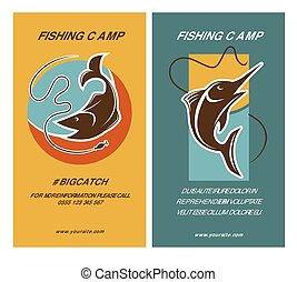 Poster with two fish near rods emblems with text. Vector...