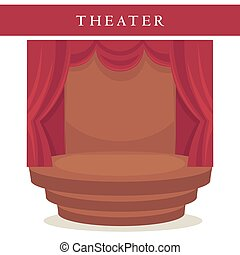 Theatre stage with red curtains and stairs emblem isolated