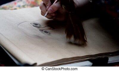 Artist paints a portrait of a man