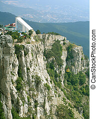 Cable railway and station on mountains