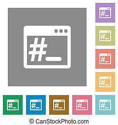 Linux root terminal square flat icons - Linux root terminal...