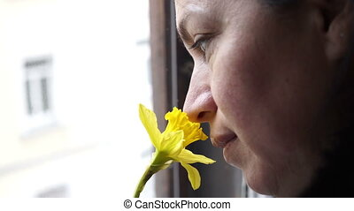 Woman at Window Smelling Daffodil Handheld - Handheld shot...
