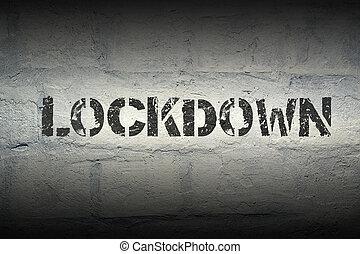 lockdown word gr - lockdown stencil print on the grunge...