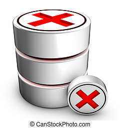 Database deletion - Icon symbolizing the deletion of an...