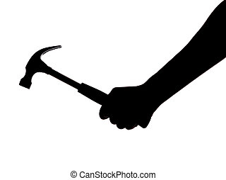 silhouette of a hand holding a hammer