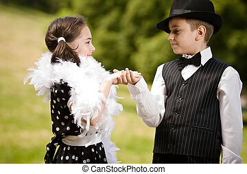 The invitation - Lovely young couple dancing and having fun....