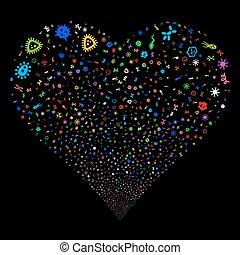 Microbes Fireworks Heart