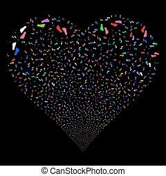 Human Footprints Fireworks Heart