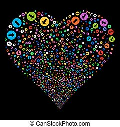 Rounded Arrow Fireworks Heart
