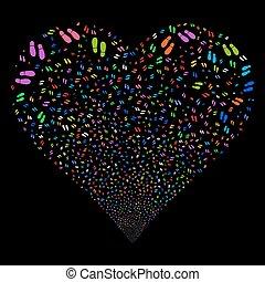 Boot Footprints Fireworks Heart