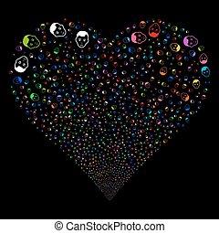 Man Head Fireworks Heart