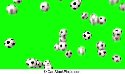 Soccer balls footballs fill screen transition composite...