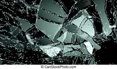 Glass crack and shatter with slow motion. Alpha