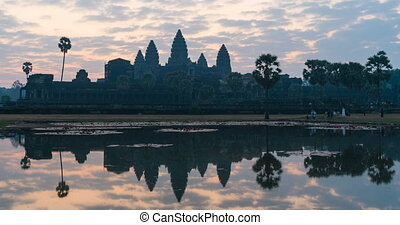 Timelapse Angkor Wat and sunrise sky in siem reap cambodia