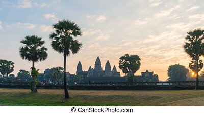 Timelapse Angkor Wat and sunrise in siem reap cambodia