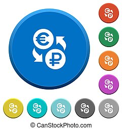 Euro Ruble money exchange beveled buttons - Euro Ruble money...