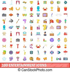 100 entertainment icons set, cartoon style