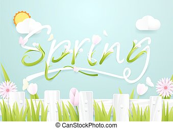 Spring season concept. Wooden Fence with flowers on cloud and sun background. paper art style design
