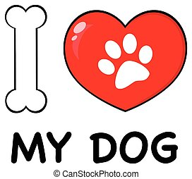 I Love My Dog With Bone And Red Heart With Paw Print Logo Design