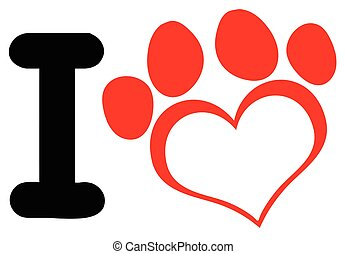 I Love Dog With Red Heart Paw Print Logo Design