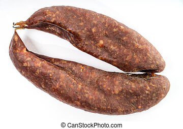 slag sausage - Double slag sausage on light background