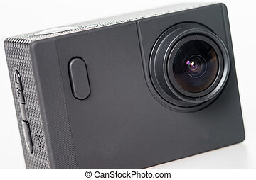 Action Cam - black action cam in front of a bright...