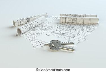 cianografie, spazio, chiavi, contenuto, copia, tuo