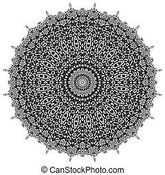 Oriental Geometric Ornament - Black Ornamental Line Pattern....