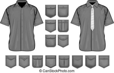 Vector collection of shirt pockets design