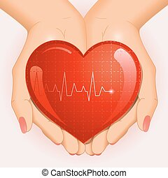 Medical background with heart in hands