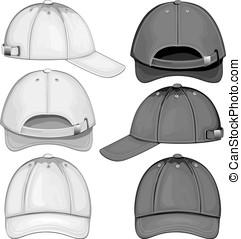 Black and white variants of baseball caps - Baseball cap....