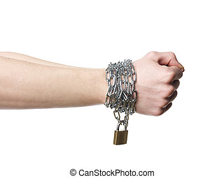 Chained hands - Hands chained together isolated on a white...