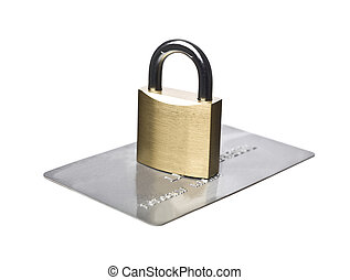 Creditcard security - Credit card and a padlock isolated on...