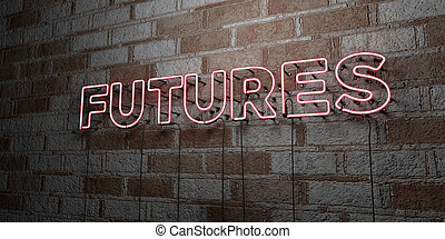 FUTURES - Glowing Neon Sign on stonework wall - 3D rendered...