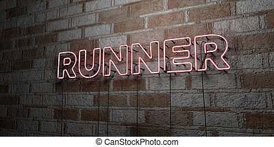 RUNNER - Glowing Neon Sign on stonework wall - 3D rendered...