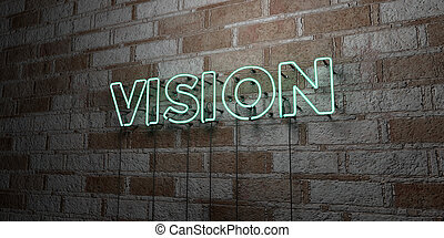 VISION - Glowing Neon Sign on stonework wall - 3D rendered...