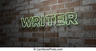 WRITER - Glowing Neon Sign on stonework wall - 3D rendered...