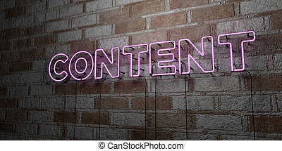 CONTENT - Glowing Neon Sign on stonework wall - 3D rendered...