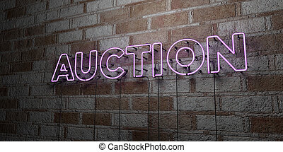 AUCTION - Glowing Neon Sign on stonework wall - 3D rendered...