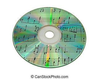 Sheet music on compact disk reflection, isolated on white