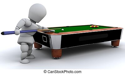 man playing pool - 3D render of a man playing pool